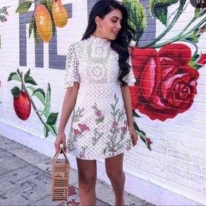 Zara white eyelet crochet embroidered floral dress